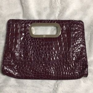 NY&C purple faux alligator clutch